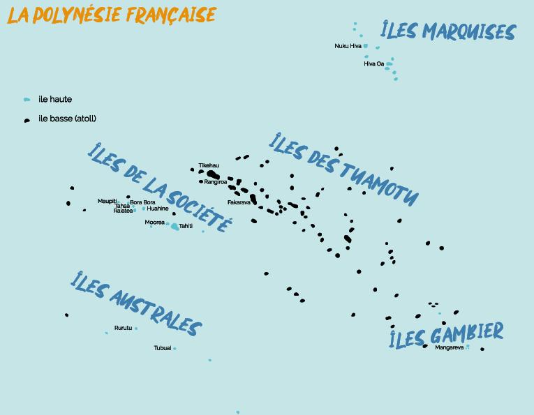 Polynésie maps - bleu voyages