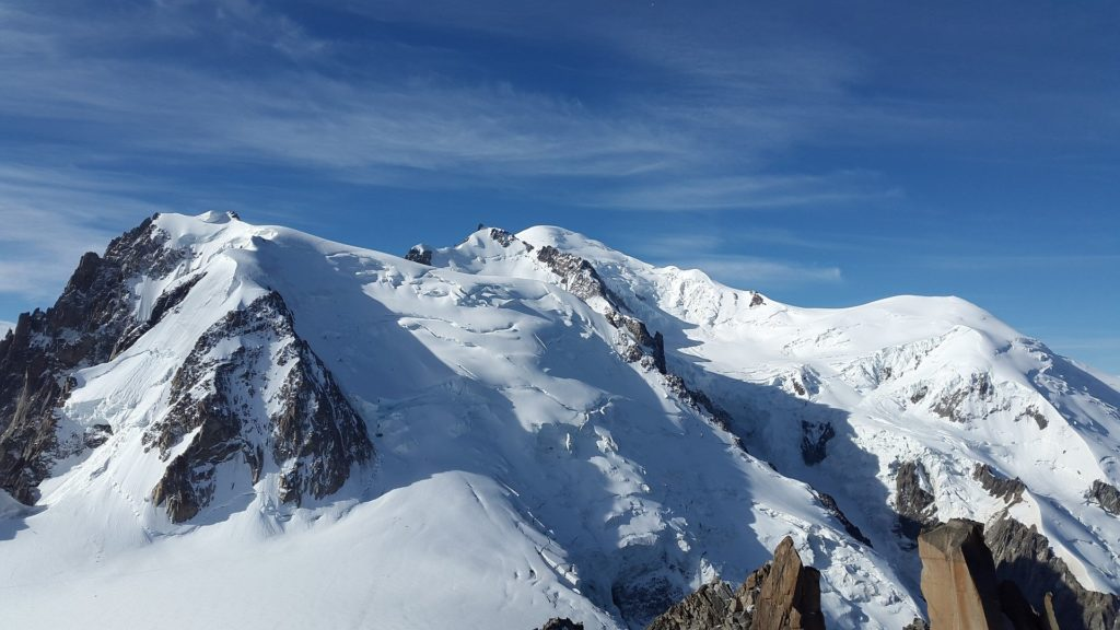 Sommets enneigés du Mont Blanc en Haute-Savoie